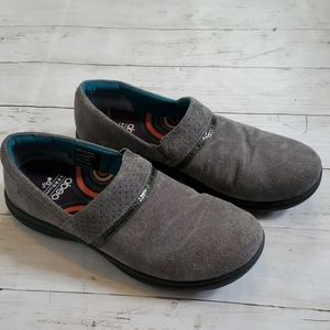 Abeo cinda charcoal gray suede slip on shoes